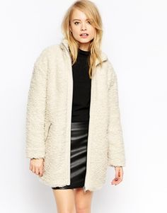 Enlarge ASOS Coat With Funnel Neck In Textured Borg