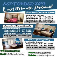 SEPTEMBER LAST MINUTE PROMO Minimum of 2 persons  For more inquiries please call: Landline: (+63 2)282-6848 Mobile: (+63) 918-238-9506 or Email us: info@travelph.com #Boracay #Philippines #TravelPH #TravelWithNoWorries Date, Boracay Philippines, Last Minute, September