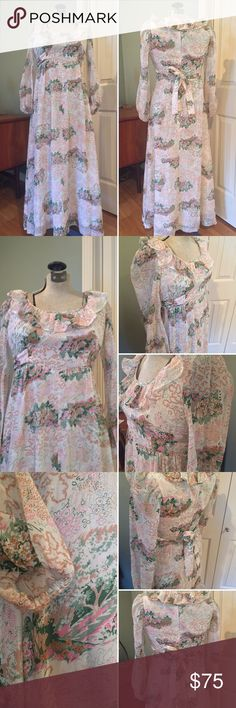 •VTG• Floral Maxi Dress This Gorgeous Dress is in very excellent condition. Perhaps handmade. No labels. Empire waist. Zipper up back. Hook and eye at neck. Two side ties done in matching fabric that match the dress that tie at back. Ruffle collar. Sheer long sleeves with elastic wrists. Fully lined in a soft cotton. Dress is a soft sheer cotton blend. Such a comfortable dress! Off white background with scenes of trees and flowers in light greens pinks and tans. So feminine! I source high…