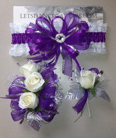 Royal Purple Silver Prom Garter n Rose by FlorescenceByDesign, $46.95