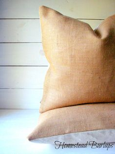 Burlap Pillow Set / Lakehouse Pillow / Beachy by HomesteadBurlaps