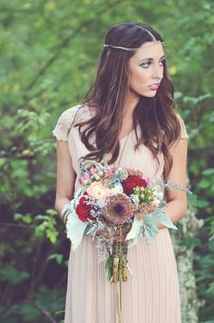 berry toned wedding bouquet // photo by Amy Wallen // view more: http://ruffledblog.com/woodland-bohemian-wedding-ideas