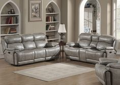 Living room furniture sets - gray reclining sofa and loveseat set. Visit us for more information and where to buy.