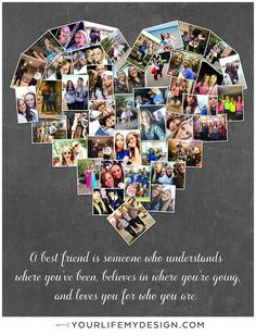 Best Friends Gift, Bestie Gifts, Christmas gift for best friend. This is a 16x20 with 43 photos. Designed and printed on canvas by Your Life, My Design by Lali. http://etsy.me/1OwoFr0