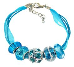 Organza and Cotton Cord Bracelet with Bead Charms - Aqua Blue (B389)