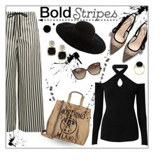 """""""Bold Stripes"""" by styledbytrell on Polyvore featuring McQ by Alexander McQueen, Witchery, Moschino, Eugenia Kim and Linda Farrow"""