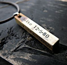 Hand Stamped Personalized Mens Necklace Brass by yourcharmedlife, $45.00