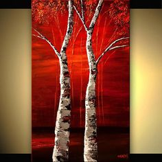 Birch Trees Painting, Modern Wall Art, Stretched, Embellished & Ready-to-Hang Print - Show Me Heaven - Art by Osnat Abstract Landscape, Landscape Paintings, Abstract Art, Canvas Art Prints, Canvas Wall Art, Heaven Art, Picasso Paintings, Texture Painting, Acrylic Art