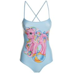 Moschino My Little Pony Printed Swimsuit ($230) ❤ liked on Polyvore featuring swimwear, one-piece swimsuits, azzurro, slimming swim suits, swimsuit swimwear, pink swimsuit and slimming one piece swimsuit