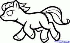 How to Draw a Mustang for Kids, Step by Step, Animals For Kids - Clip Art Library Cartoon Drawings, Easy Drawings, Animal Drawings, Cartoon Art, Online Coloring For Kids, Clip Art Library, Silhouette Pictures, Drawing For Kids, Drawing Tips