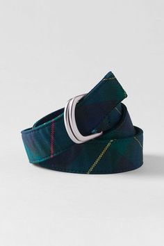 School Uniform Girls' Plaid D-ring Belt from Lands' End
