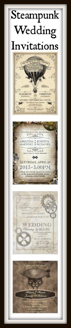 Steampunk Wedding Invitations for a Victorian Steampunk Theme Wedding.  #wedding
