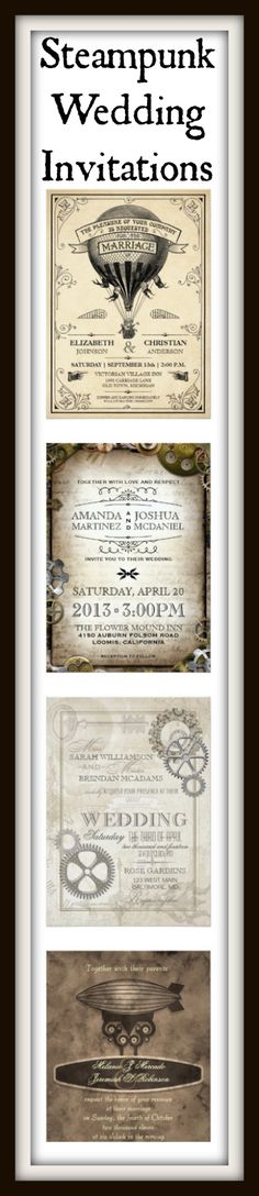 Steampunk Wedding Invitations for a Victorian Steampunk Theme Wedding.  #wedding