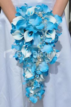 Beautiful Blue Vanda Orchid and White Fresh Touch Vermeer Calla Lily Cascade Bridal Bouquet w/ Brooch