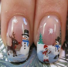Snowman scene nails. Like the tiny glittered sky ~ it's snowing. ...evidence of more patience than I have in my little finger.