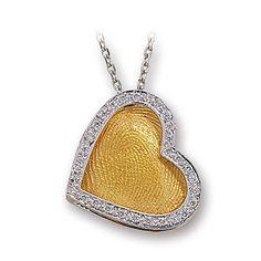 Pırlanta 18 Ayar Altın Parmak İzi Kalp Kolye Cardio, özel tasarım kolye, hediye kolye, parmak izi koleksiyonu