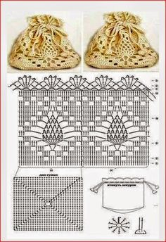 Crochet pineapple bag - crochet in the round joining rows on a square base - Beutel Filet Crochet, Crochet Pouch, Crochet Diy, Crochet Diagram, Crochet Chart, Thread Crochet, Crochet Gifts, Crochet Motif, Crochet Stitches