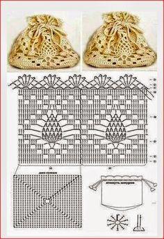 Linda y sencilla bolsita para tejer con crochet, puede ser usada para cosméticos, como cartera band...