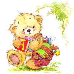 Teddy bear and Kid school background — Imagen de stock #72071317