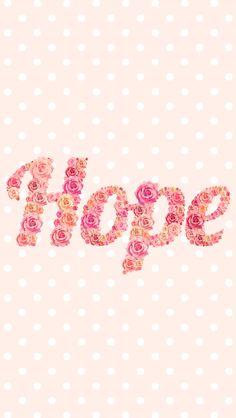 Blush pink floral roses Hope polka dots iphone phone background lock screen wallpaper
