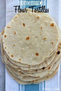 Homemade Flour Tortillas - this tortilla recipe is perfect for enchiladas, tacos, Mexican dinner night, cinnamon sugar dessert and more!