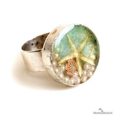 New Fall 2014 deep bezel ring filled with starfish charm, pearls and resin