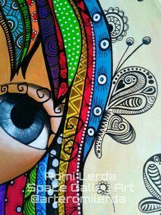romi lerda cuadros - Buscar con Google Doodle Art, Art Visage, Arte Popular, Zentangle Patterns, Zentangles, Face Art, Mixed Media Art, Painting & Drawing, Pop Art