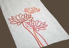 """Excited to share the latest addition to my #etsy shop: Lotus Table Runner, Linen Table Runner 14' x 64"""", Natural Linen Orange Lotus, Wedding Table Runner, Flower Table Linen, Modern Tabletop"""