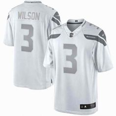 Russell Wilson Nike White Platinum Limited Jersey no this one 667d91e77