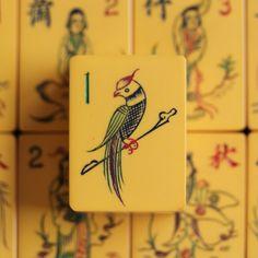 Vtg. 1930s, Chinese Bakelite Mahjong Set, 152 Hand Carved Tiles, Parrot One Bams