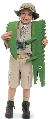 Have an alligator party for your little crocodile hunter! Find alligator and crocodile party supplies the kids will love, like inflatable alligators, and serve swamp cake for the best ever crocodile pool party. Homemade Halloween Costumes, Diy Costumes, Halloween Kids, Costume Ideas, Costume Halloween, Dance Costumes, Alligator Party, Alligator Costume, Steve Irwin Costume