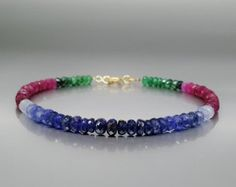 Bracelet geniune Sapphire, Ruby and Emerald with 14K gold clasp - gift idea by gemorydesign. Explore more products on http://gemorydesign.etsy.com