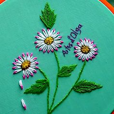 Bordando Margaritas Doble Color In this tutorial I show you how to embroider double color daisies. I hope you like Basic Embroidery Stitches, Hand Embroidery Videos, Embroidery Stitches Tutorial, Embroidery Flowers Pattern, Creative Embroidery, Simple Embroidery, Sewing Stitches, Silk Ribbon Embroidery, Hand Embroidery Designs