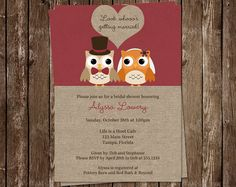 Owl Bridal Shower Invitations, Wedding, Red, Fall, Couple, Burgundy, Set of 10 Printed Cards, LGMAU, Look Whoo's Getting Married Autumn