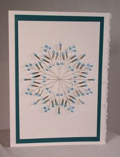 Hand Stitched Beaded Snowflake Greeting Card by IndigoLimes, $6.00