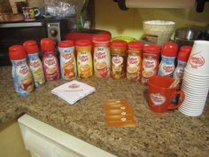 setting up for a  coffee mate sampling party, we had a great time trying all these flavors