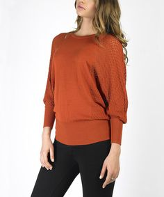 Take a look at this Ginger Spice Textured Dolman Sweater by Sioni on #zulily today!