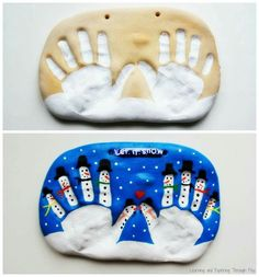 Kids Christmas craft idea SALT DOUGH HANDPRINT KEEPSAKE...this is sooooo cute! Recipe: 2 cups flour, 1 cup salt, cold water. Mix until it has the consistency of play dough. Imprint and bake at 250 for 2 hours, then cool and paint.
