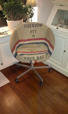 Another great DIY - Ikea chair and old postal sacks