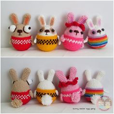 I got a laugh from these rolypoly bunnies called Easter-eggs Gang Amigurumi by May Ahmaymet.  Click on the pick to buy her pattern!