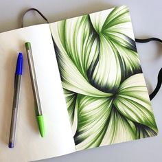 Two color abstract ballpoint pen drawing in my trusty Moleskine sketchbook. Click through to see more.