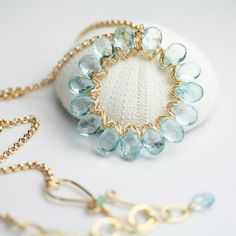 Briolette circle by Fuss Jewelry on Etsy - This is such a pretty way to use briolettes!