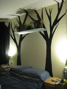 "professor-corn: "" Thinking of doing this in my new bedroom! The walls are huge and blank… DIY Vinyl Wall Art "" Diy Wand, Tree Shelf, Tree Wall, Diy Projects Using Contact Paper, Vinyl Wall Art, Wall Decals, Wall Stickers, My New Room, My Room"