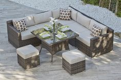 AURA 11 - RATTAN CORNER SOFA AND DINING COMBO