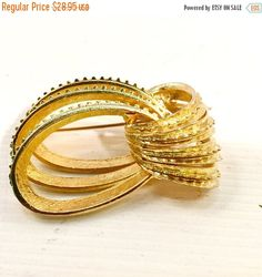 ON SALE Gold brooch CORO vintage designer pin Fabulous Vintage Coro abstract loop mid century jewellery