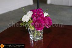 !maloney-12b-salem-golf-club-north-salem-wedding-reception-flowers-cocktail-table-arrangement-glass-vase-hydrangea-roses-lisianthus-mathiola-pink-green-white