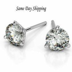 158838ebd 1.00 Carat Round Cut Diamond Stud Earrings in Sterling Silver - Screw Back