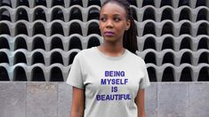 This design has been created out of my Spring Flowers By Ocean Design. This is positive message reminding all of us that we are all beautiful. Be yourself and show the world how amazing you are. I Am Beautiful, Positive Messages, My Spring, Spring Flowers, Chiffon Tops, V Neck T Shirt, Classic T Shirts, Ocean, Slim