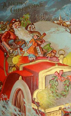 Victorian Christmas card of Santa in a red jalopy full of vintage Christmas toys.