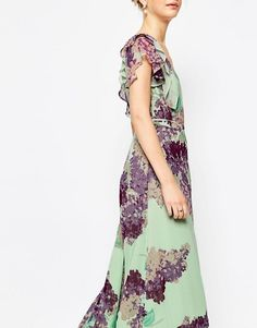 ASOS | ASOS Frill Tea Maxi Dress in Floral Print